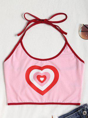 Heart Halter Crop Top - Pink S