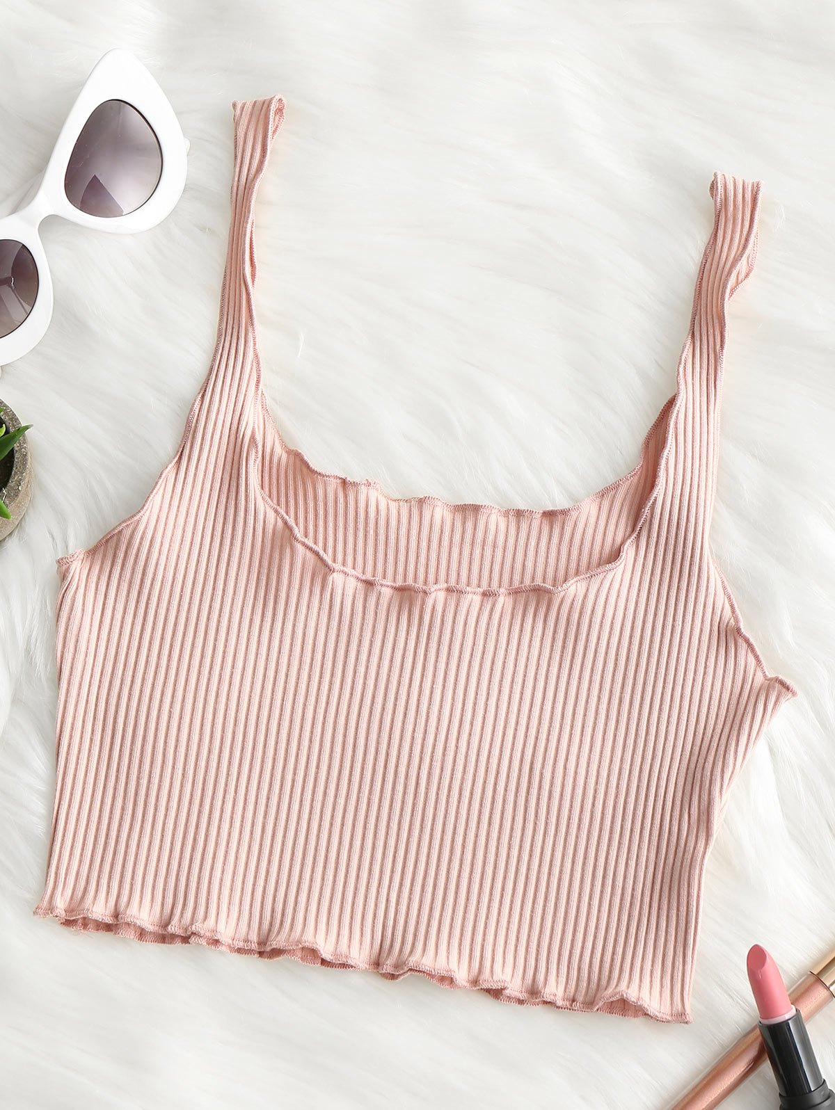 Ribbed Fitted Crop Tan