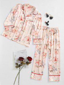 الأزهار الحرير بدلة النوم - اللون البيج Xl