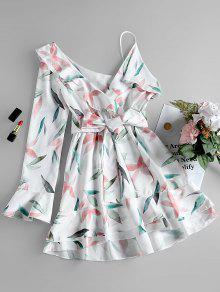 فستان توهح طباعة الورقة بكتف واحد - أبيض S