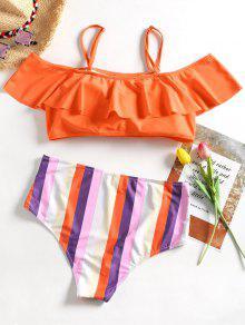 Rayas o 3xl Volantes Y Tama De De Conjunto Gran Con Naranja Bikini UFnwZxH1