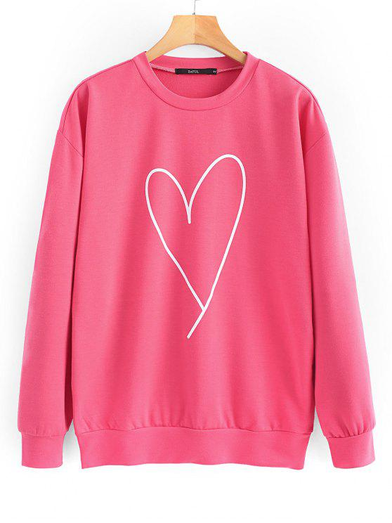 affordable Oversized Valentine Day Terry Sweatshirt - PEACH RED S