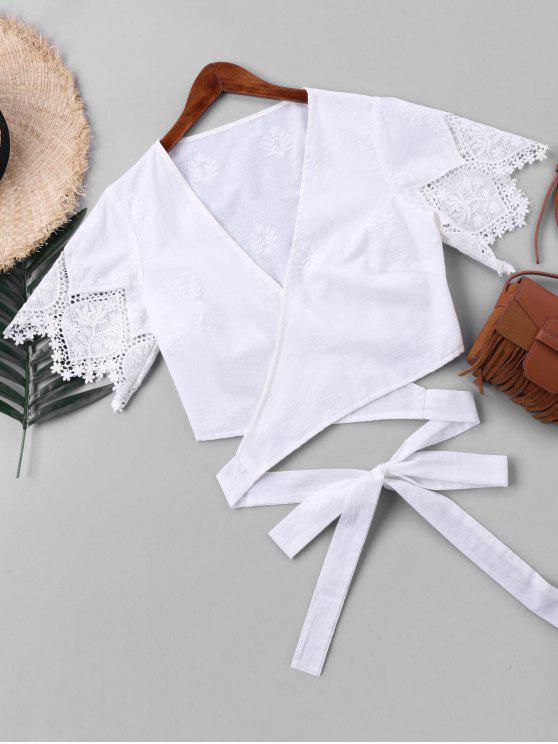 بلوزة لف مقصر قصيرة الأكمام - أبيض XL