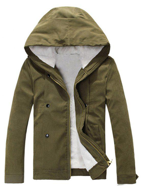 unique Plush Inside Snap Button Zip Up Hooded Coat For Men - ARMY GREEN XL