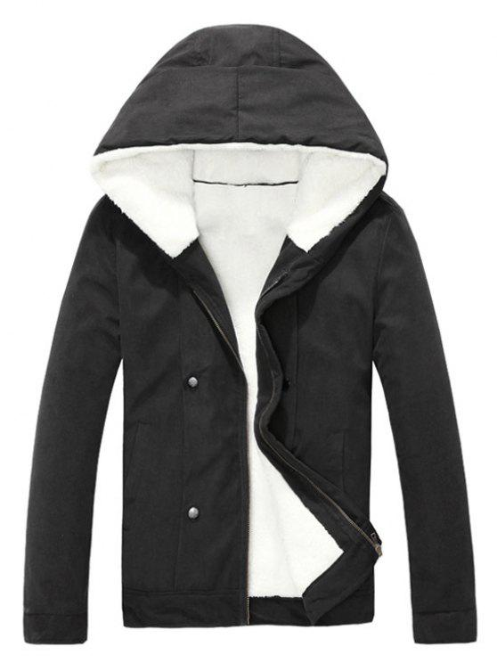 trendy Plush Inside Snap Button Zip Up Hooded Coat For Men - BLACK 2XL
