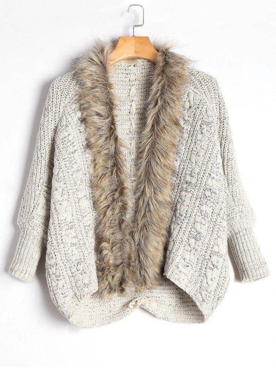 eda3f7334b9 2019 Faux Fur Trimmed Cable Knit Cardigan In LIGHT KHAKI ONE SIZE ...