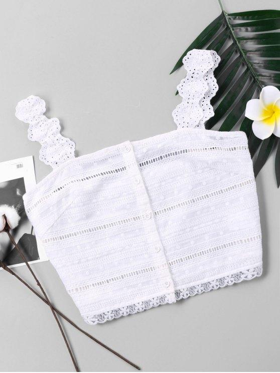 Camisola de alças da colher do laço do botão acima - Branco XL
