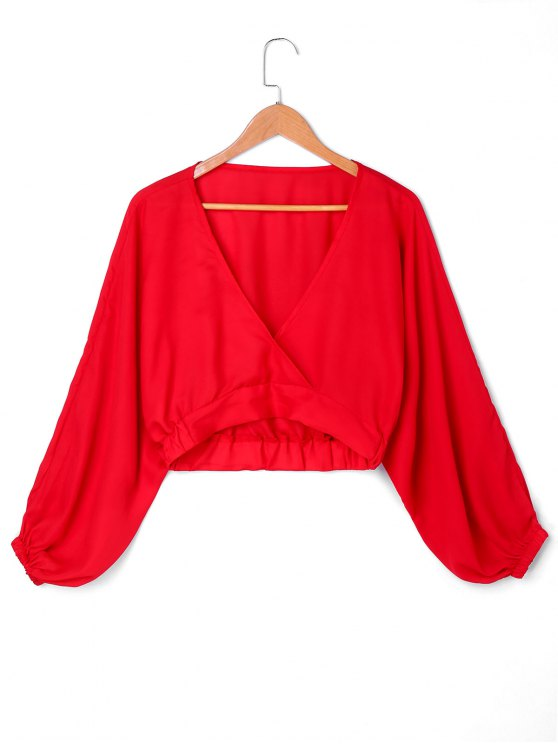 trendy Cropped Surplice Neck Blouse - RED XL