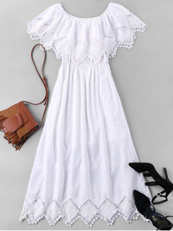 Lace Trim Long Caplet Dress - Branco XL