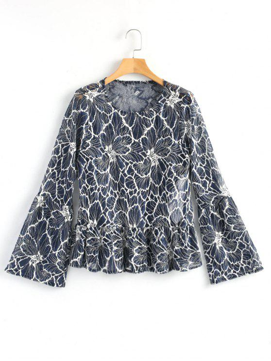 fashion Long Bell Sleeve Sheer Lace Top - BLUE AND WHITE M