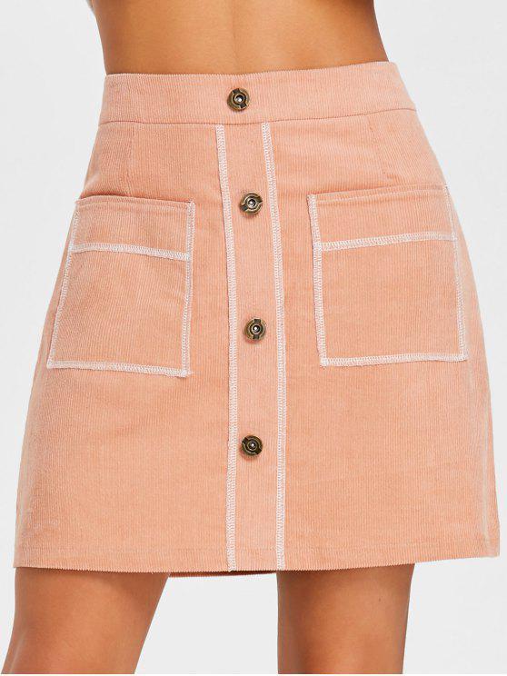 Jupe en Velours Côtelé à Couture Contrastante - Orange Rose XL