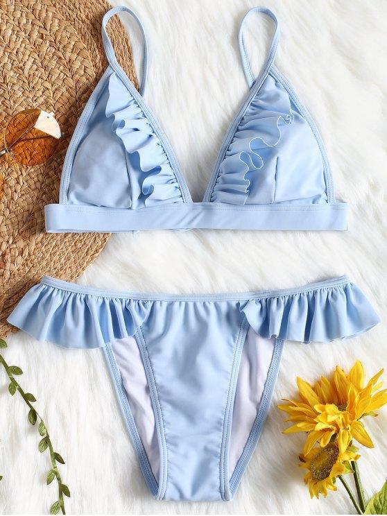 Haut et Bas de Bikini à Volants - Bleu M