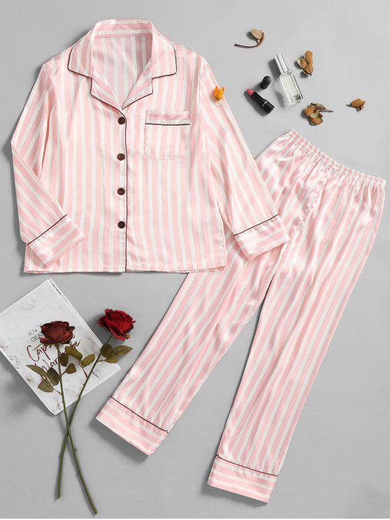 fancy Pinstripe Satin Pajamas Set - LIGHT PINK XL