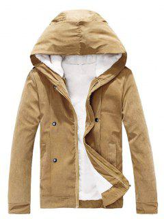 Plush Inside Snap Button Zip Up Hooded Coat For Men - Camel Xl