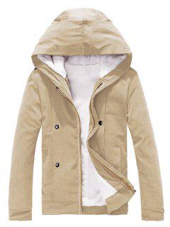 Plush Inside Snap Button Zip Up Hooded Coat For Men - Khaki 2xl