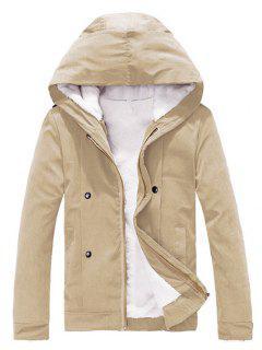 Plush Inside Snap Button Zip Up Hooded Coat For Men - Khaki Xl