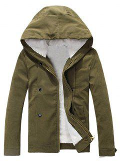 Plush Inside Snap Button Zip Up Hooded Coat For Men - Army Green 2xl