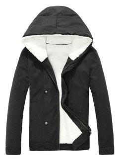 Plush Inside Snap Button Zip Up Hooded Coat For Men - Black L