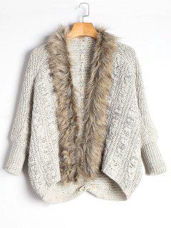 Faux Fur Trimmed Cable Knit Cardigan - Light Khaki