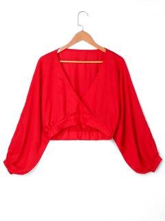 Blusa De Cuello Surplice Recortada - Rojo M