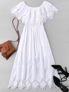 Lace Trim Long Caplet Dress - White M