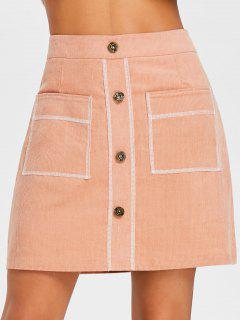 Contrast Stitches A Line Corduroy Skirt - Orangepink L