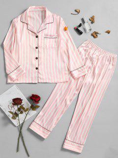 Pinstripe Satin Pajamas Set - Light Pink M