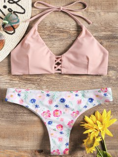 Strappy Bikini Top And Floral Bottoms - Pink And White L
