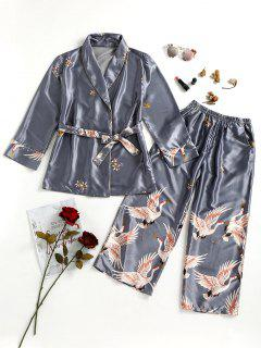 Pantalon De Sommeil Avec Robe En Satin Imprimé Grue - Gris Xl