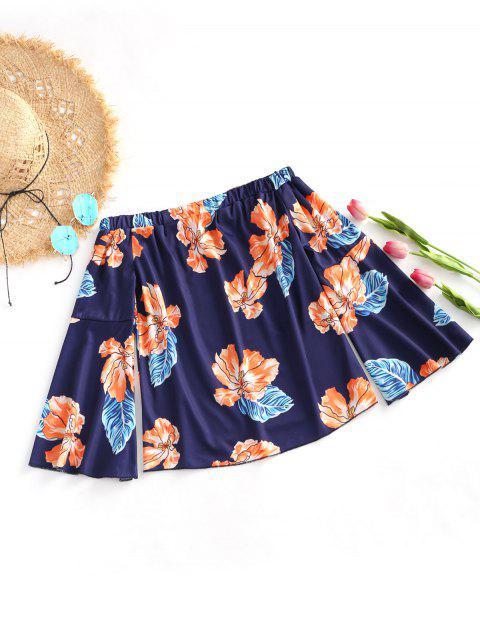 women Off Shoulder Flare Sleeve Floral Blouse - DEEP BLUE M Mobile