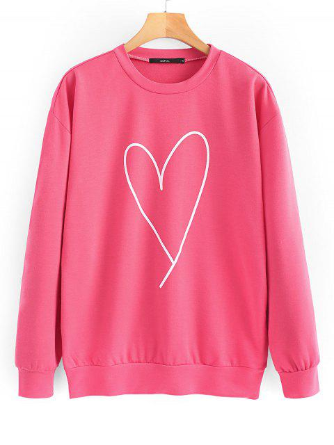affordable Oversized Valentine Day Terry Sweatshirt - PEACH RED S Mobile