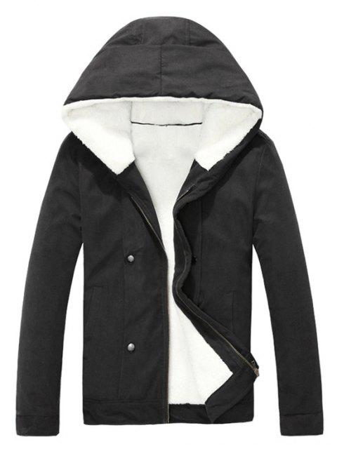 trendy Plush Inside Snap Button Zip Up Hooded Coat For Men - BLACK 2XL Mobile