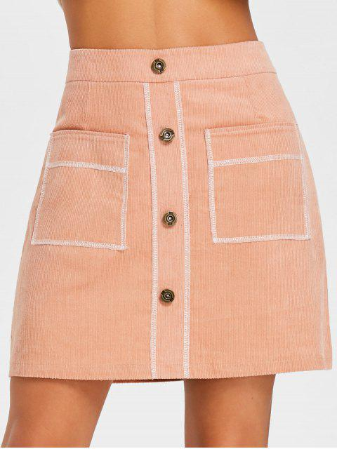 hot Contrast Stitches A Line Corduroy Skirt - ORANGEPINK L Mobile