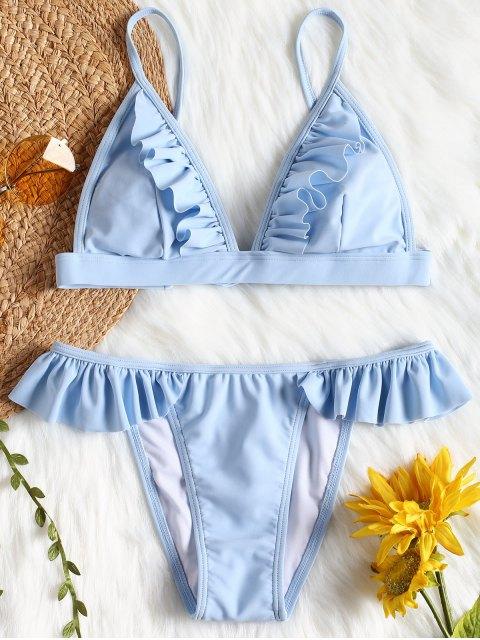 Bikini con parte superior y parte inferior de bikini con ribete de volantes - Azul L Mobile