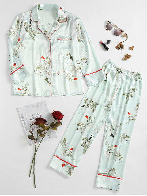 affordable Two Piece Satin Blossom Sleep Suit - LIGHT GREEN XL Mobile