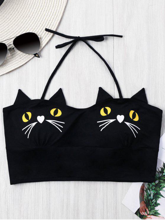 online Kitten Print Halter Crop Top - BLACK XL