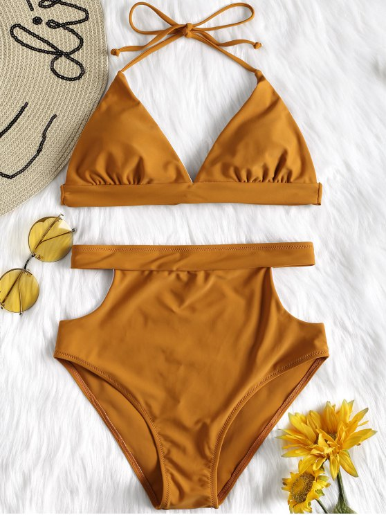 outfit Cut Out High Waisted Bikini Set - BROWN M