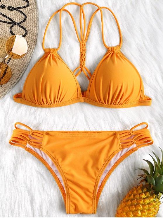 d08d076f240 11% OFF  2019 Strappy Molded Cup Bikini Set In ORANGE