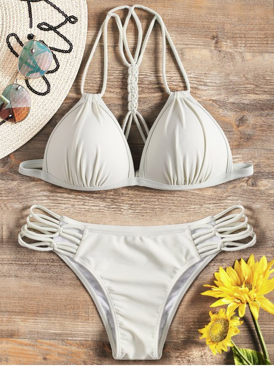 affordable Strappy Molded Cup Bikini Set - OFF-WHITE S
