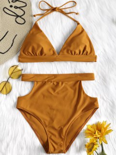 Cut Out High Waisted Bikini Set - Brown M