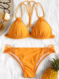 Enge Geformter Cup Bikini Set - Orange L