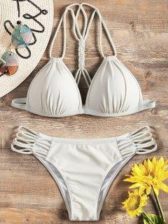 Strappy Molded Cup Bikini Set - Off-white M