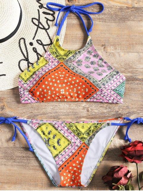 Conjunto de bikini con cuello alto y estampado de patchwork - Floral S Mobile