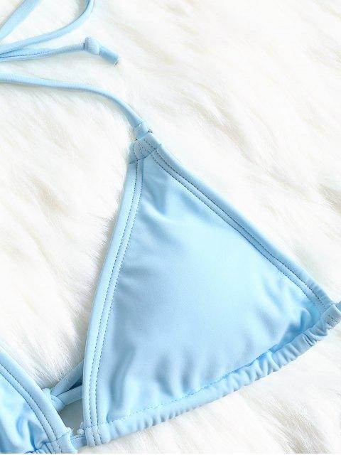 Conjunto de Bikini de Dos Tonos Acolchado - Azul y Negro S Mobile