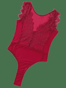Lace Panel Sheer Mesh Sleeveless Lingerie Teddy