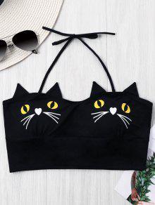 القطط طباعة الرسن المحاصيل الأعلى - أسود Xl