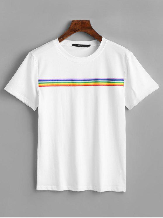 Rainbow Striped Patched Tee   White S by Zaful