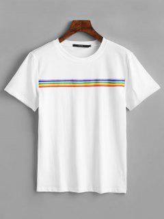 Camiseta Con Parche A Rayas De Arco Iris - Blanco L