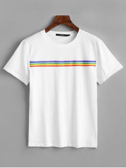 Camiseta con parche a rayas de arco iris - Blanco L Mobile