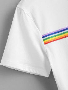 De Parche Iris Rayas Camiseta M Con Arco A Blanco xUwSzIq4